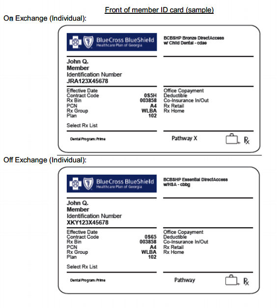 sample insurance cards bcbs  New member ID cards for plans purchased on and off the Exchange ...